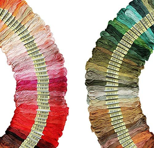 Cross Stitch Thread,Bracelets Floss,Stitch Threads Premium Rainbow Color Embroidery Floss 105 Skeins Per Pack with Cotton for Cross Stitch Threads Bracelet Yarn Craft Floss Embroidery Floss Set
