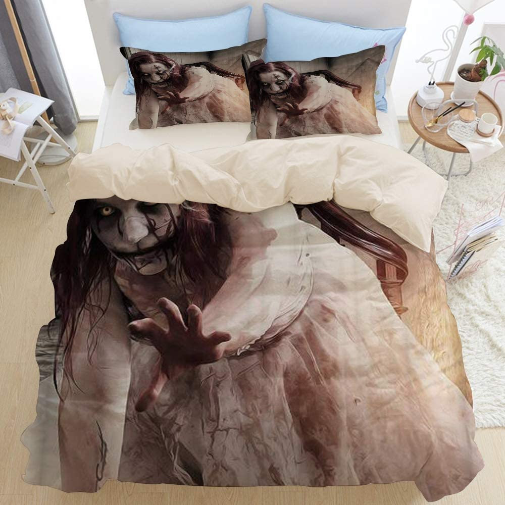 Mokale Decorative Goth Gothic Halloween Scary Horrible Zombie Woman Horrible 3pcs Bedding Duvet Cover Set with 2 Pollow Shams for Home Hotel Dorm Decoration,Beige Reversible,Full 80x90
