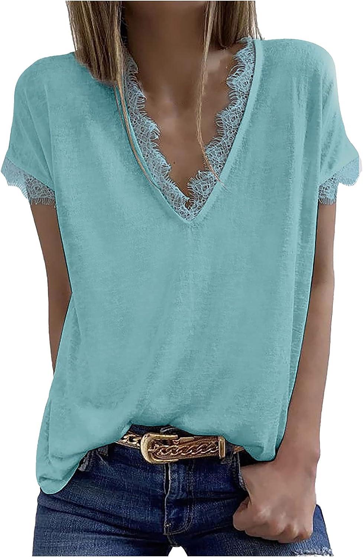 XOXSION Camiseta de verano para mujer, cuello en V, monocolor, manga corta, encaje, patchwork, para adolescentes, niñas y mujeres, túnica