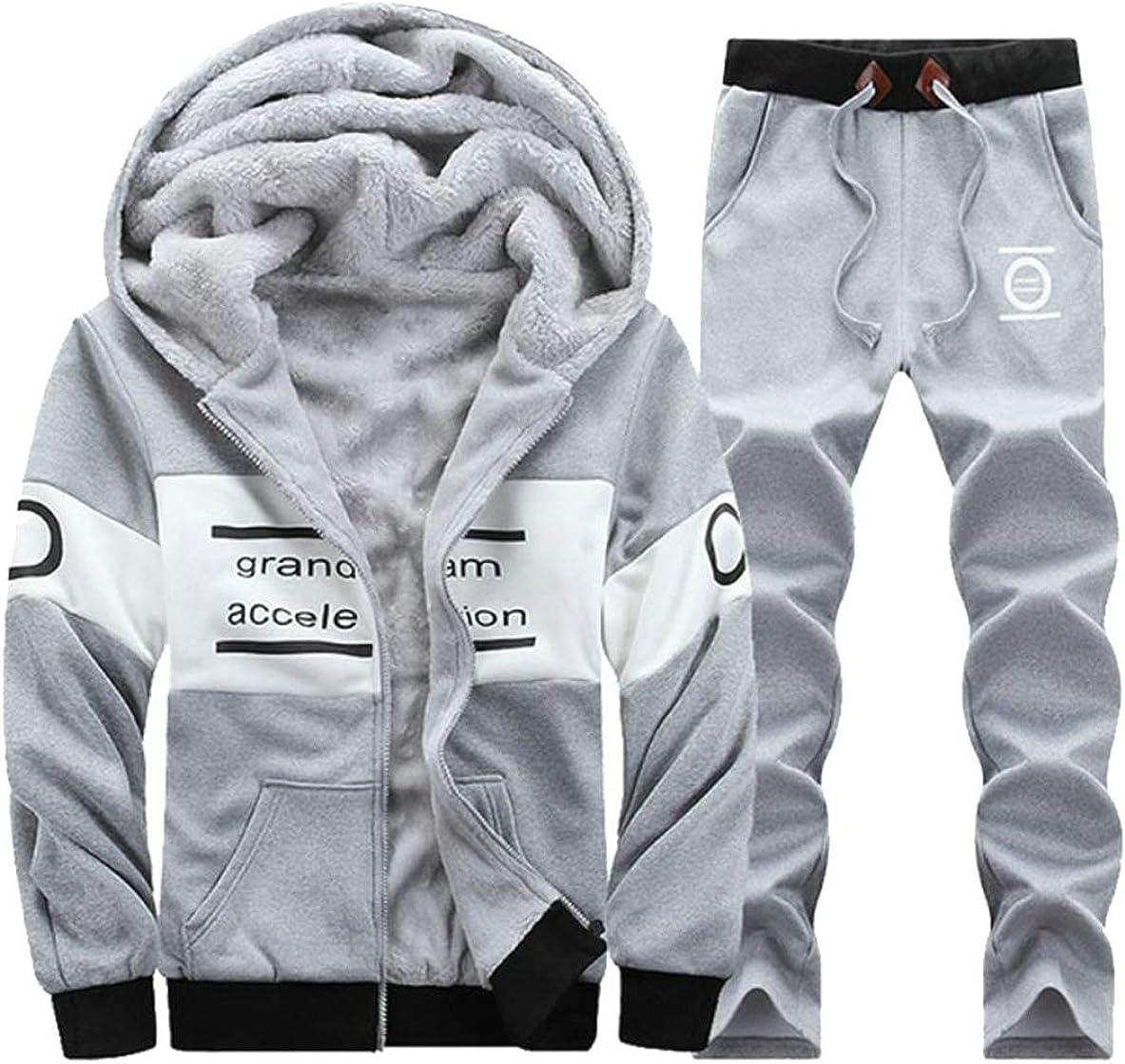 Joe Wenko Mens 2 Piece Leisure Jacket Letter Fleece Sports Fall Winter Tracksuit Set