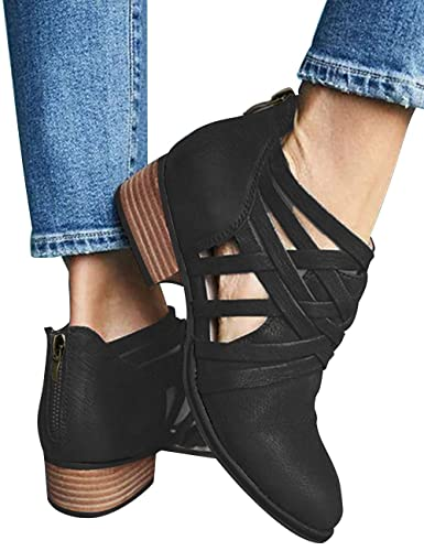 5cad8df47f40 Athlefit Women s Strap Ankle Boots Cut Out Criss Cross Block Heel Booties  Size 5.5 Black