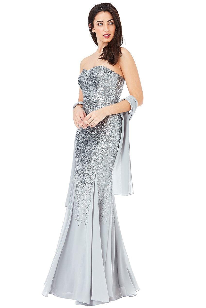 a301f85acd1e9 Goddiva Silver Strapless Sequin Chiffon Inserts Maxi Dress-Wrap Bridesmaid  Party: Amazon.co.uk: Clothing