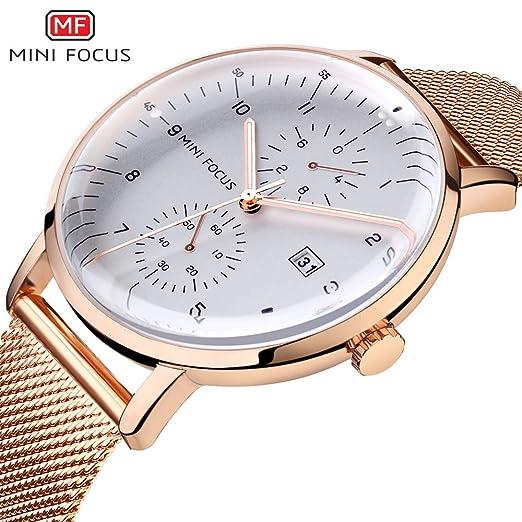 HWCOO Hermoso Relojes de Pulsera Mini Focus / MF0052G Reloj de Cuarzo para Hombres Malla de Acero con Dos Relojes pequeños de Disco acuáticos a Prueba de ...