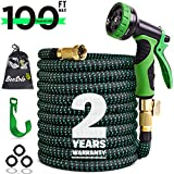 100ft Expandable Garden Hose Expanding Water Hoses, Outdoor Yard Cloth Hose can 3X Expandable with 100% Solid Brass Valve 9 Function Hose Nozzle,100feet Flexible Lightweight Gardening Hoses No Kink