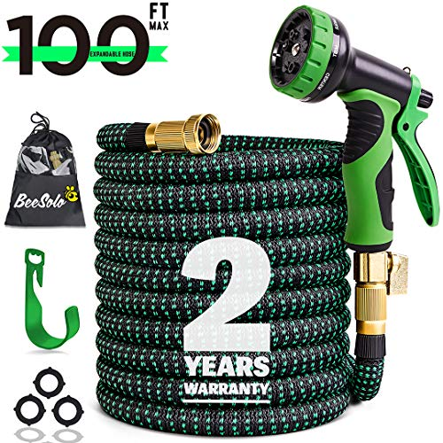 100ft Expandable Garden Hose Expanding Water Hoses, Outdoor Yard Cloth Hose can 3X Expandable 100% Solid Brass Valve 9 Function Hose Nozzle,100feet Flexible Lightweight Gardening Hoses No Kink (Black)