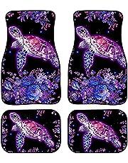 UNICEU Car Carpet Floor Mat Sunflower Butterfly Design - 4pcs/Set Universal Car Front Rear Floor Foot Mats Anti-Slip Neoprene All Weather Protection