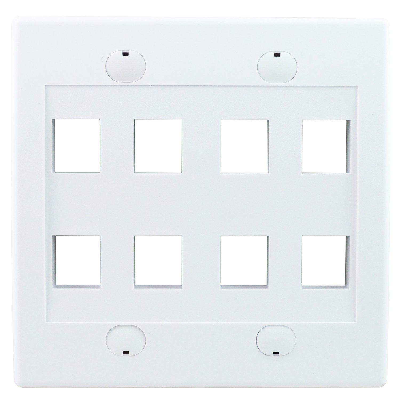 LINKOMM 5 Pack 8-Port Keystone Jack Wall Plate, White