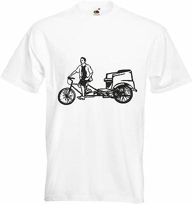 T-Shirt Camiseta Remera Silueta de la Bicicleta montaña de la Bicicleta REPARACIÓN DE Ciclo Sport Bike Tour EN BTT Camisa en Blanco: Amazon.es: Ropa y accesorios