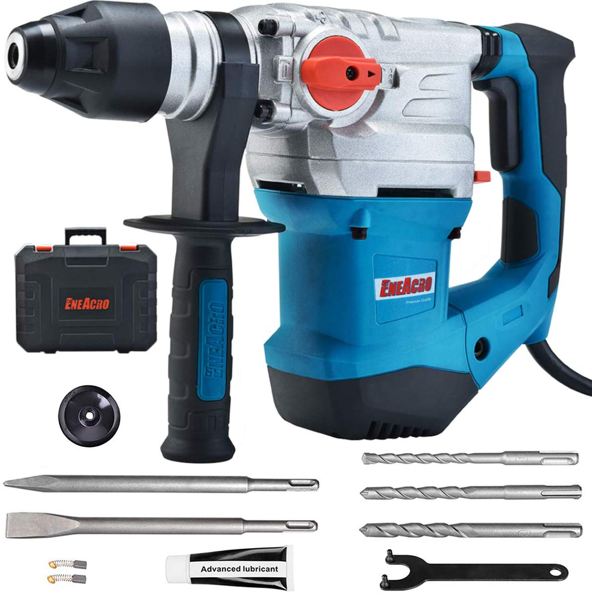 ENEACRO 1-1 4 Inch SDS-Plus 13 Amp Heavy Duty Rotary Hammer Drill, Safety Clutch 4 Functions with Vibration Control Including Grease, Chisels and Drill Bits with Case