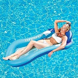 Comfort - Tumbona hinchable para piscina, reclinable y con pancarta inflable, para piscina,