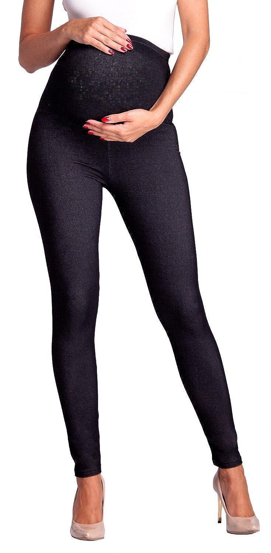 Zeta Ville - Womens Maternity Elastic Pants Denim Look Leggings Waistband - 948c maternity_leggings_948