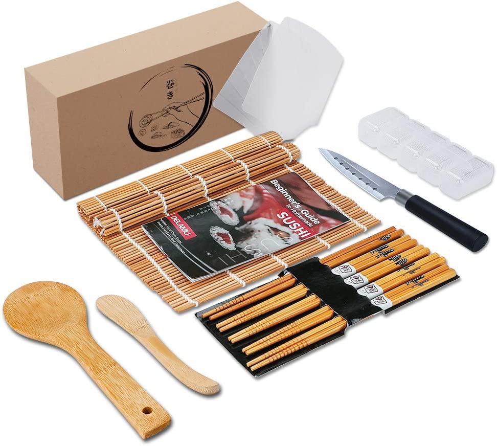 Delamu Bamboo Sushi Mat, Sushi Making Kit with Guide Book, Sushi Rolling Mat including 2 Bamboo Sushi Mats, 5 Chopsticks, 1 Rice Mold, 2 Temaki Rollers, 1 Sushi Knife, 1 Rice Spreader, 1 Rice Paddle