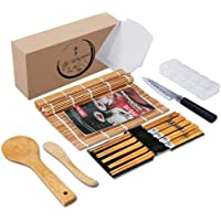 Delamu Bamboo Sushi Mat, Sushi Making Kit with Guide Book, Sushi Rolling Mat including 2 Bamboo Sushi Mats, 5 Chopsticks, 1 Rice Mold, 2 Temaki Rollers, 1 Sushi Knife, 1 Rice Spreader, 1 Rice Paddle