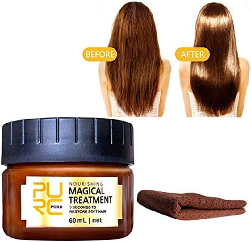 99AMZ Magical Treatment Mask 5 Seconds Repairs Frizzy Make Hair Soft Smooth 60ml Keratin Hair Treatment Hair Care Mascarilla para el pelo Profesionales for Dañado Mascarillas de Pelo (60ml +Toalla)