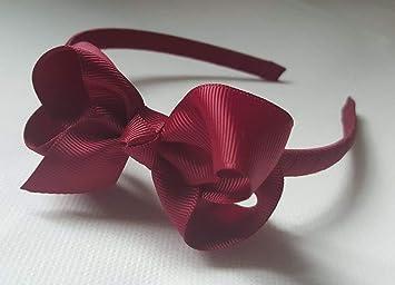 Amazon.com   Alice Band With Bow Girls Ribbon Hair Band Headband (Burgundy)    Beauty e989667da23