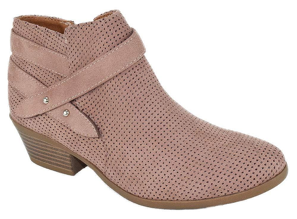 bluesh Soda Women Small Short Heel Ankle Boots Buckled Booties Side Zipper Portia