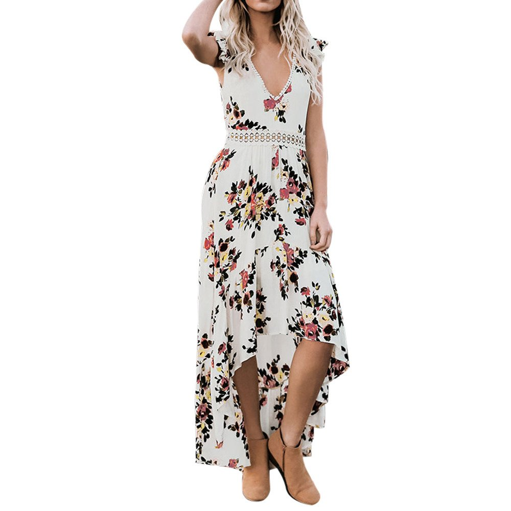 Hotkey Womens Summer Casual Sleeveless Women Summer Floral Flower Deep V Neck Sexy Backless Lace Dress White