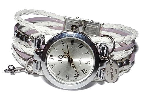 ArteM los® hecha a mano de mujer reloj de acero inoxidable, Metal Y Piel