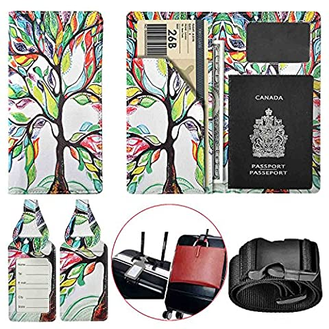 XeYOU Travel Wallet & Passport Holder Soft Microfiber Leather Passport Cover Case with 2 Matching Luggage Tags and Luggage Strap (Love (Blackberry Passport Clip)