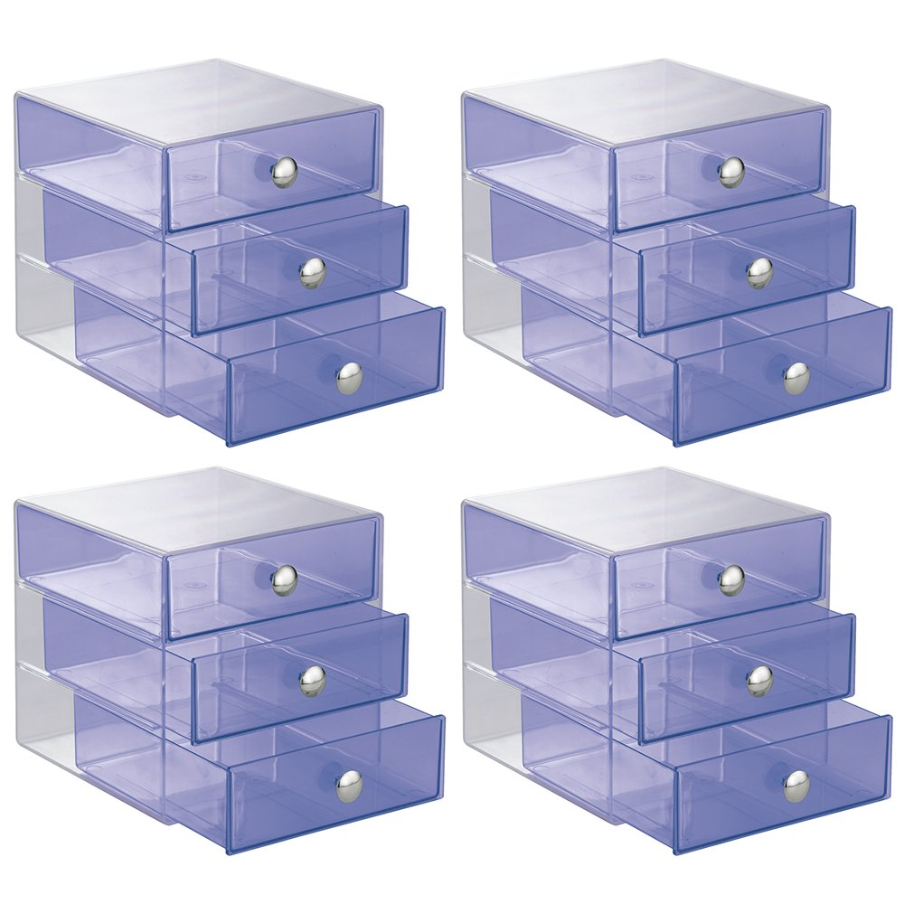 InterDesign 3-Drawer Storage Organizer for Cosmetics, Makeup, Beauty Products or Kitchen/ Office Supplies, Violet, Set of 4
