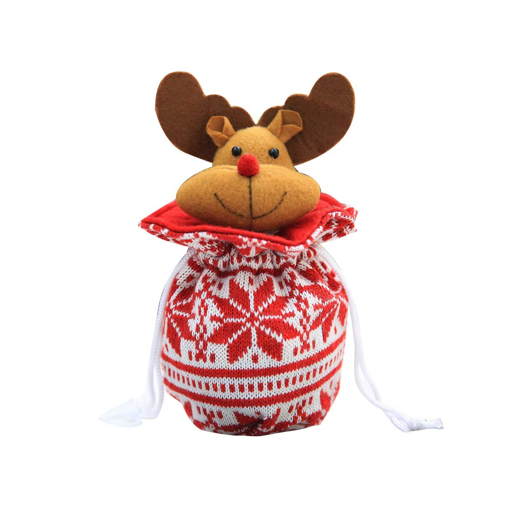 YaptheS Christmas Apple Bag Cute Elk Doll Knitted Candy Cookie Bag Pendant Kids Xmas Gift Party Decoration Christmas Gift
