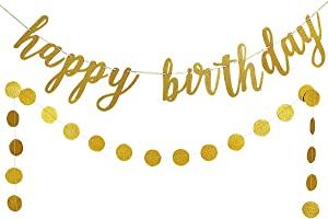 Gold Glittery Happy Birthday Banner and Gold Glittery Circle Dots Garland- Birthday Party Decorations,Men Birthday Party Decor,Home Decor