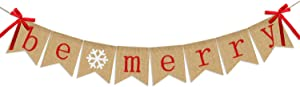 Be Merry Burlap Banner | Christmas Banner with Snowflake Sign | Christmas Decoration | Rustic Christmas Decor for Mantle Fireplace Xmas Party Holiday Supplies Decoration | Outdoor Indoor Hanging Decor