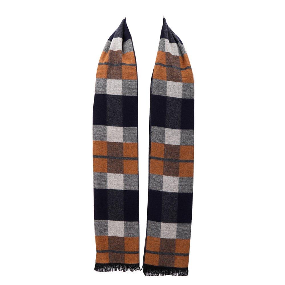 Mens Winter Cashmere Scarf - Ohayomi Fashion Formal Soft Scarves for Men(Camel Plaid)