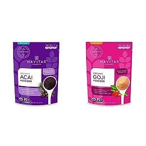 Navitas Organics Acai Powder, 8 oz. Bag — Organic, Non-GMO, Freeze-Dried, Gluten-Free & Goji Powder, 8 oz. Bag — Organic, Non-GMO, Sun-Dried, Sulfite-Free