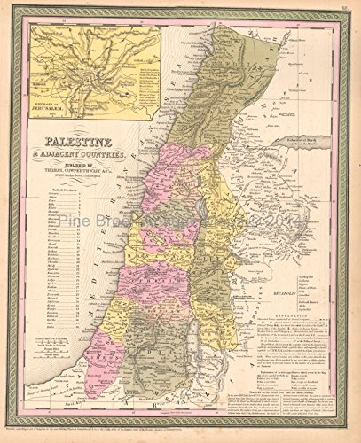 Palestine Antique Map Original Holy Land Decor History Housewarming Gift Ideas Holy Lands Heritage - Antique Palestine