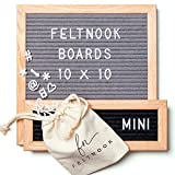 Letter Board Set - Felt Letter Board Gray 10x10 PLUS Mini Letterboard in Black - 346 Changeable Board Letters - Oak Wood - Wall Hanging Sign - Personalized Message Board - Letterboards by FeltNook