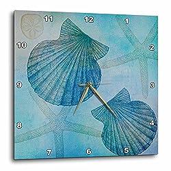 3dRose DPP_79341_3 Aqua Shells and Starfish Beach Themed Art Wall Clock, 15 by 15-Inch