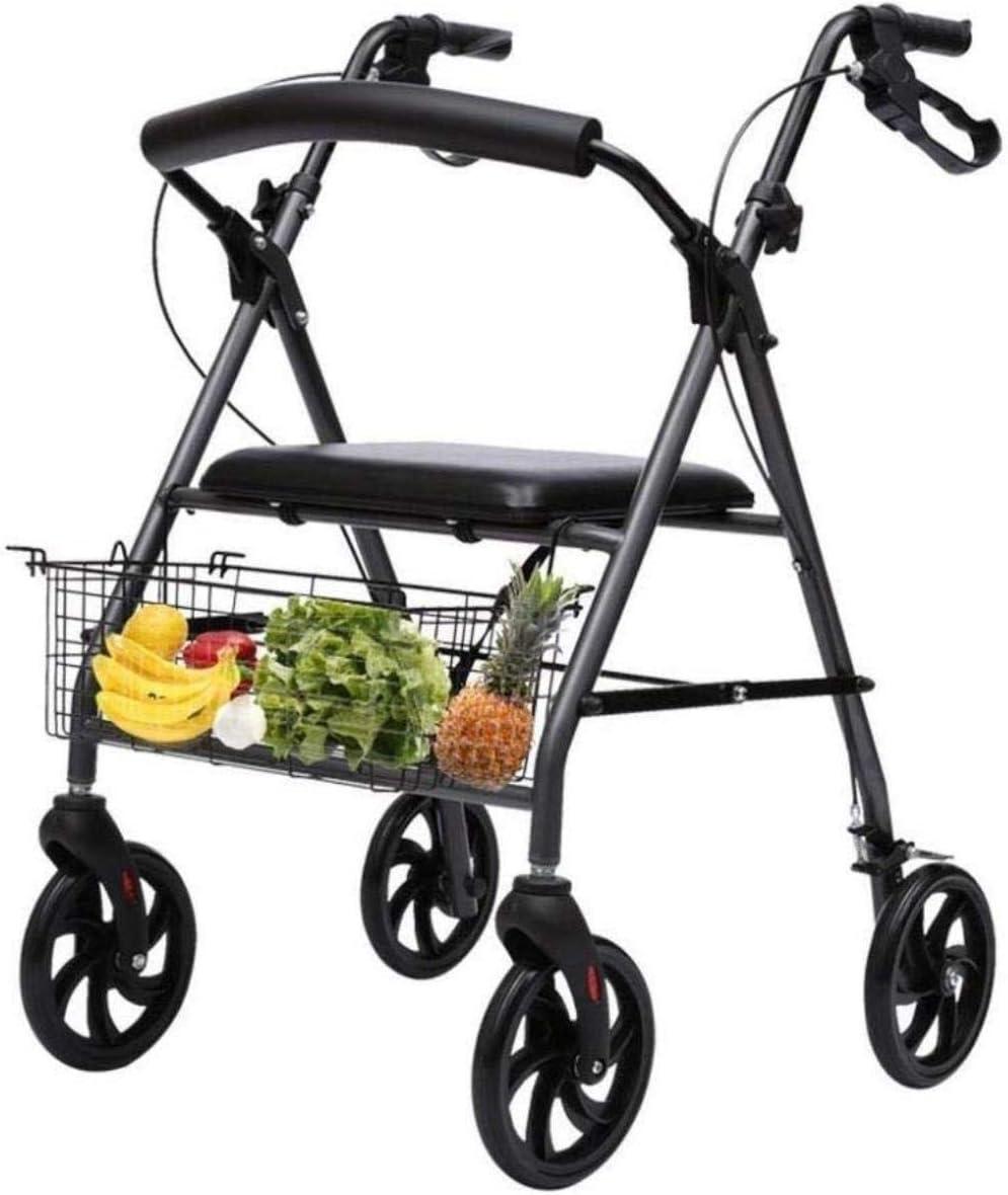 Andadores para discapacidad Andador para Ancianos Silla de Ruedas 4 Ruta Ayuda motriz Compras Viajes Walker médico del Transporte for el Adulto Mayor de la desventaja
