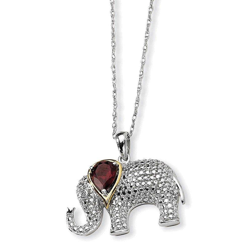 Lex /& Lu Sterling Silver /& 14K Garnet and Diamond Elephant Necklace LALQG2713-17
