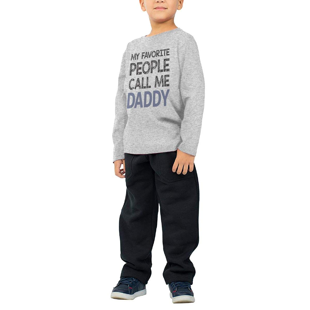 SKYAKLJA My Favorite People Call Me Daddy Childrens Gray Cotton Long Sleeve Round Neck T-Shirt for Boy Or Girl