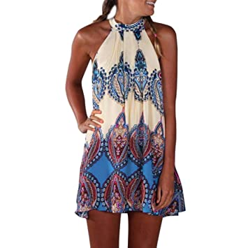 Kleid Damen, Cooljun Vintage Boho Frauen Sommer Sleeveless Strand Printed  Short Mini Dress Mode Kleid 985774e252