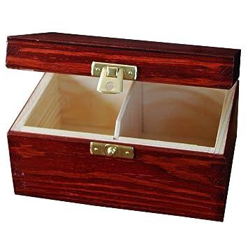 Rojo Caja para Té Bolsita Madera | 2 Compartimentos | 15,2 x 10,5 x 7,7 cm | Perfecta para Decoradas Decoupage y Decoración: Amazon.es: Hogar