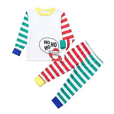 4899877d5 Amazon.com  FEDULK Matching Family Christmas Pajamas Striped Print ...