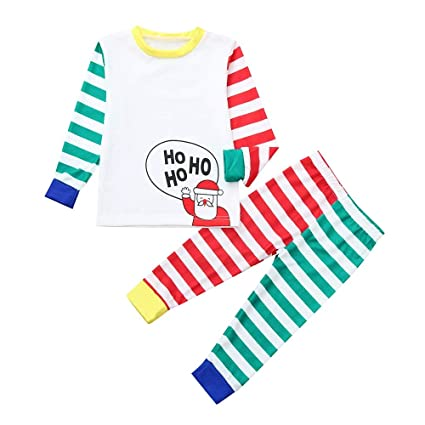 b1ccf18c1c Matching Family Christmas Pajamas 2pcs Set ❀Vanvler Mom Man Children  Cartoon Santa Top+Stripe