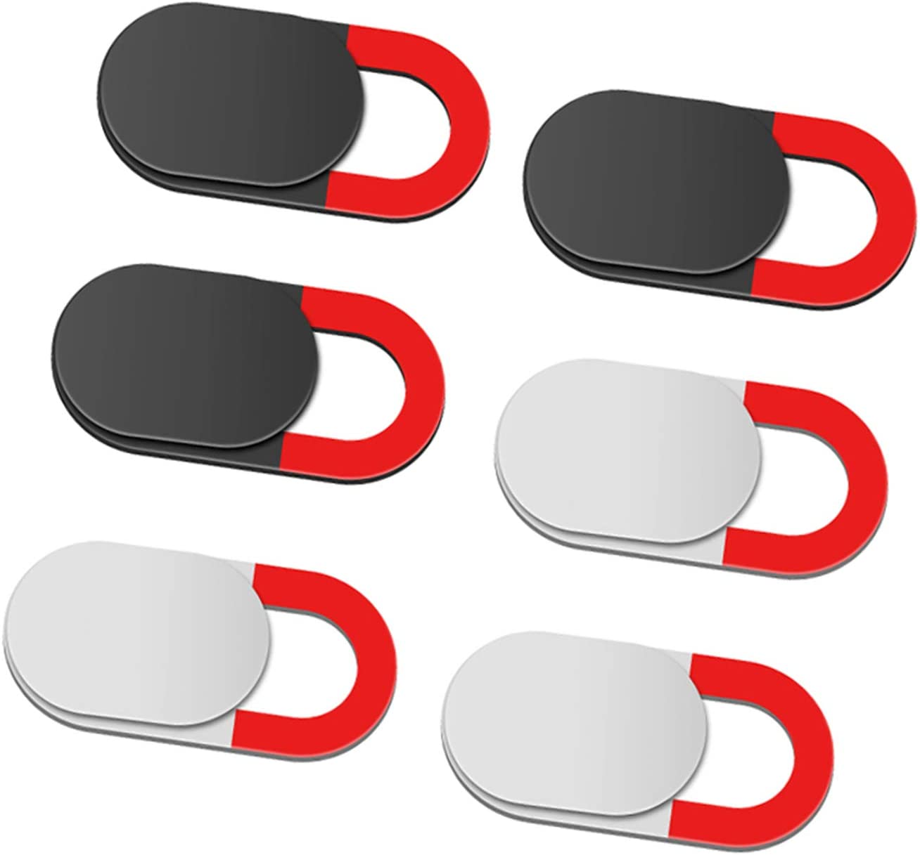 Webcam Cover Slide, 6-Pack Laptop Camera Cover,0.027 inch Ultra-Thin for Computer,Laptop, Mac, iPad, iPhone, Tablets, Smartphone,Protecting Privacy and Securtiy,Anti-Spy (Red)