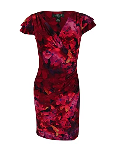 Lauren Ralph Lauren Womens Printed Ruched Wear to Work Dress