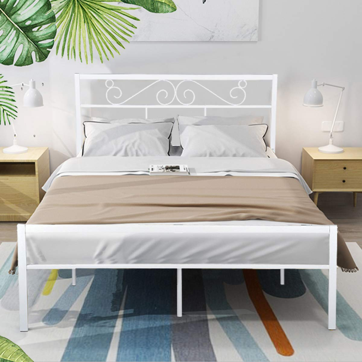 GreenForest Queen Bed Frame with Wooden Slats Support Metal Platform with Headboard No Box Spring Needed, White (82.87'' x 62.99'' x 35.63'' (LxWxH) by GreenForest