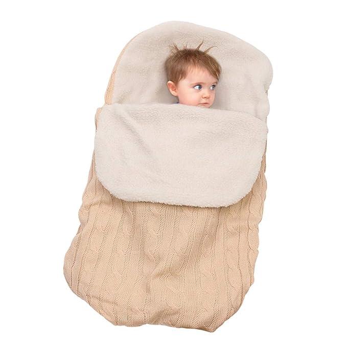 JEELINBORE Saco de Dormir Manta Envolvente de Invierno para Bebé Recién Nacido Swaddle Wrap para Cochecitos - #2 Beige, Fleece Forrado: Amazon.es: Ropa y ...