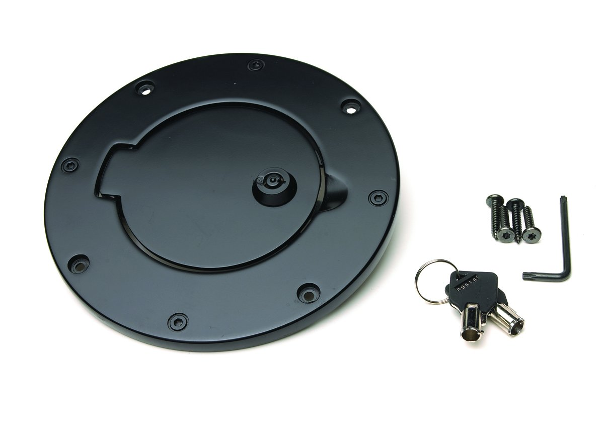 RAMPAGE PRODUCTS 85007 Black Billet Style Locking Gas Cover for 2007-2018 Jeep Wrangler JK