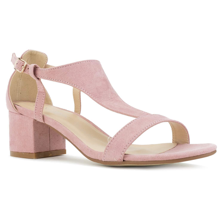Pink Suede-r RF ROOM OF FASHION Women's Trendy Open Toe Ankle Strap Kitten Heel Sandal - Adorable Low Block Chunky Heel