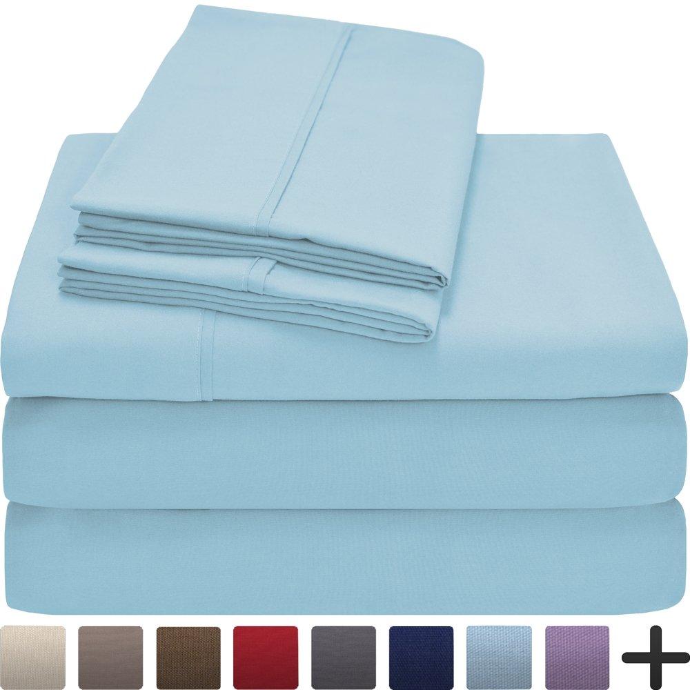 (Split King, Light Blue) Premium 1800 Ultra-Soft Microfiber Collection Split King Sheet Set, Hypoallergenic, Easy Care, Wrinkle Resistant, Deep Pocket (Split King, Light Blue) B019J50RW2 Split King|ライトブルー ライトブルー Split King