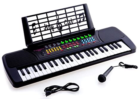 0f38e20c5bf Amazon.com  De Rosa Children 49 Keys Electronic Piano Music Keyboard Black   Musical Instruments