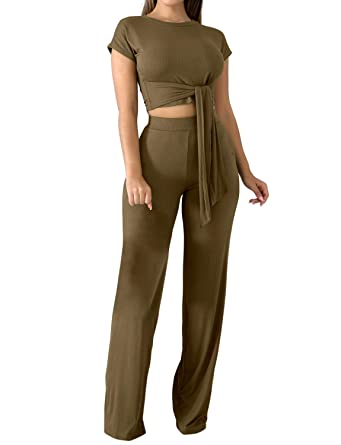 7682dec477ef Amazon.com: Sedrinuo Women Summer Bodycon Two Piece Outfits Jumpsuit Short  Sleeve Crop Top and Wide Leg Pants Romper: Clothing