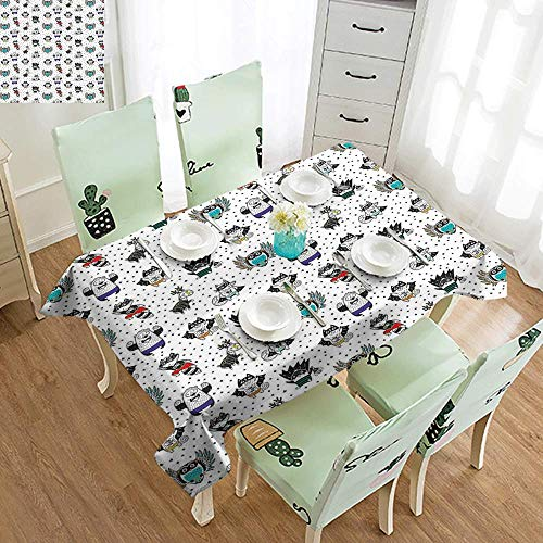 DILITECK Stain-Resistant Tablecloth Superhero Animal Owl Dear Fox Cat Penguin Raccoon Bear in Superhero Costumes Print Soft and Smooth Surface W60 xL102 White Seal Brown
