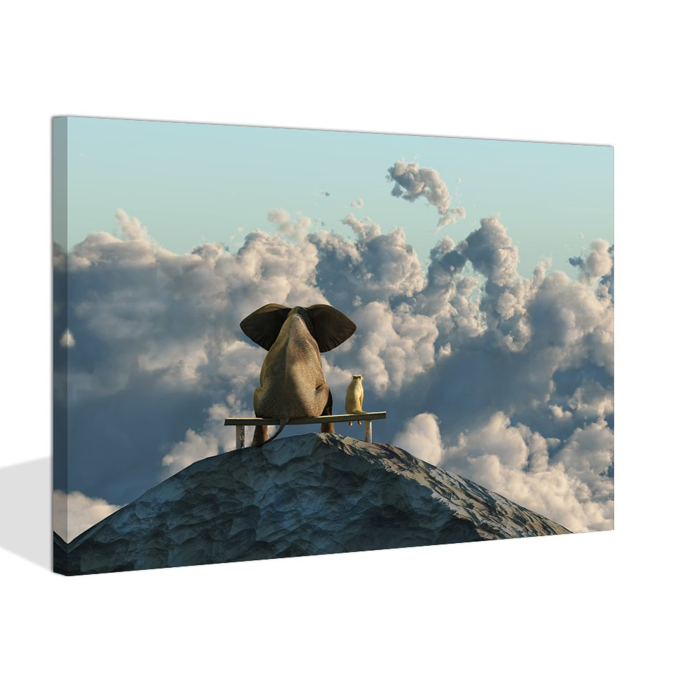 Visual Art Decor Modern Animals Canvas Prints Wall Art Elephant and Dog Sit on Mountain Top LandscapePicture Framed and Stretched Ready to Hang (Mountain Top, 24''x32'')